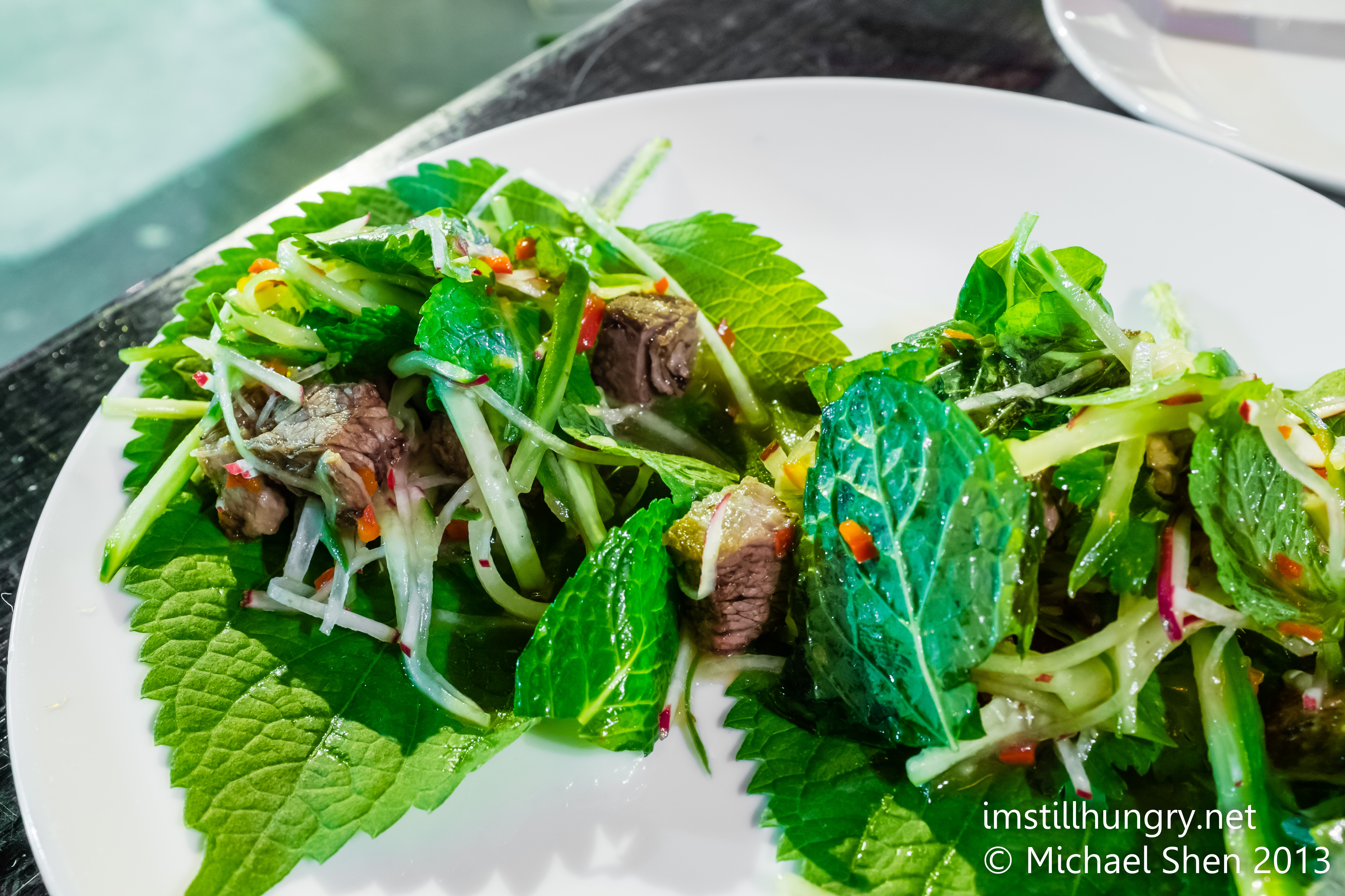 Beef short rib on sesame leaf Bar H Sydney