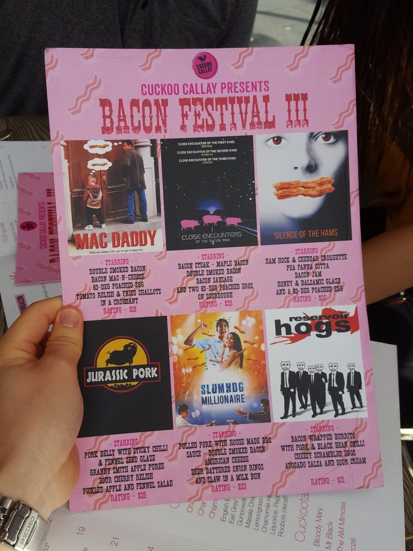 Cuckoo Callay Bacon Fest Menu