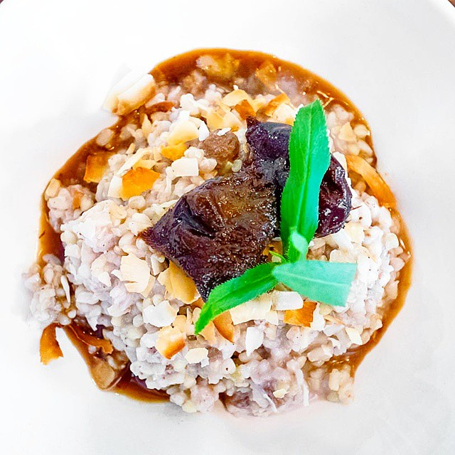 Single Origin Roasters // Buckwheat & brown rice coconut pudding w/coffee poached prunes & toasted coconut >> so I never thought I'd be a fan...but I love to be proven wrong in such situations!