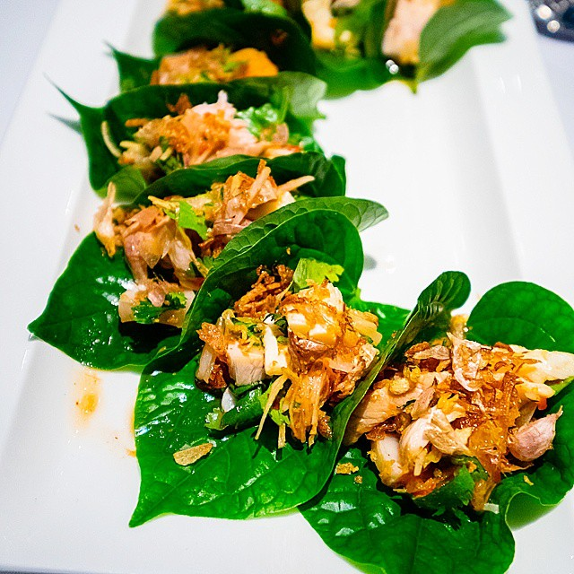 Nahm at Quay >> lobster with pork, pickled garlic, ginger on betel leaves // sweet and minty, the deliciousness continues