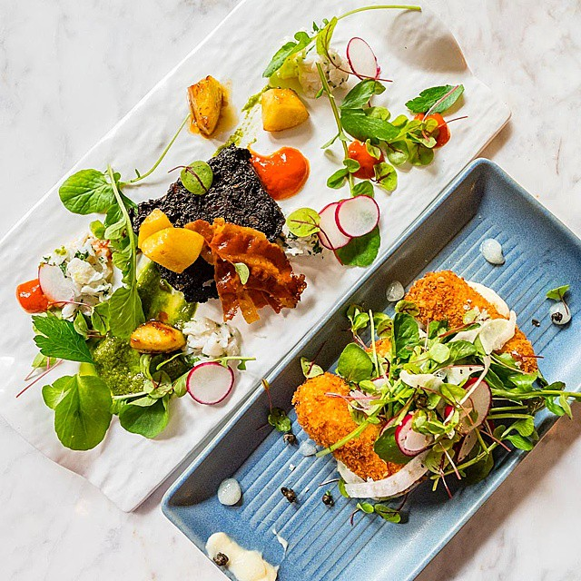 One Four Kitchen // salt cod croquettes w/lemon puree, baby watercress, capers & thyme   black pudding, crab remoulade, parsley puree, watercress & pancetta. The new restaurant at Menzies is a good find - if you're ever staying here the restaurant is worth a try!