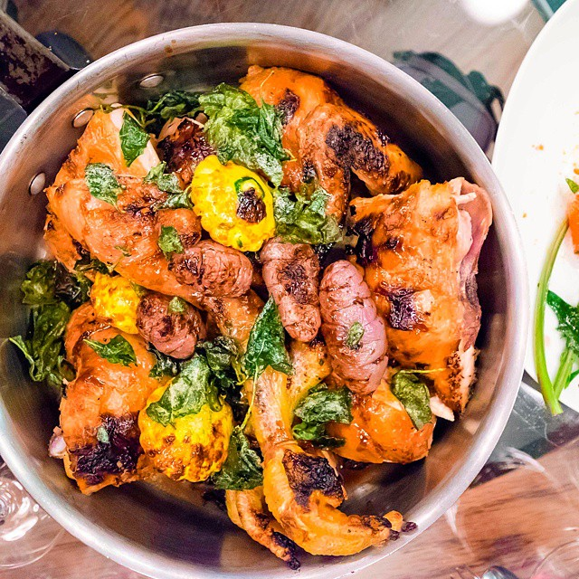 Pei Modern // Holmbrae chicken, yams and salt bush >> the chicken is brined for 5hrs, smoked for hours more, then roasted at 400C to deliver chicken that's essentially perfect on the outside, and in. One of Pei Modern's best dishes.