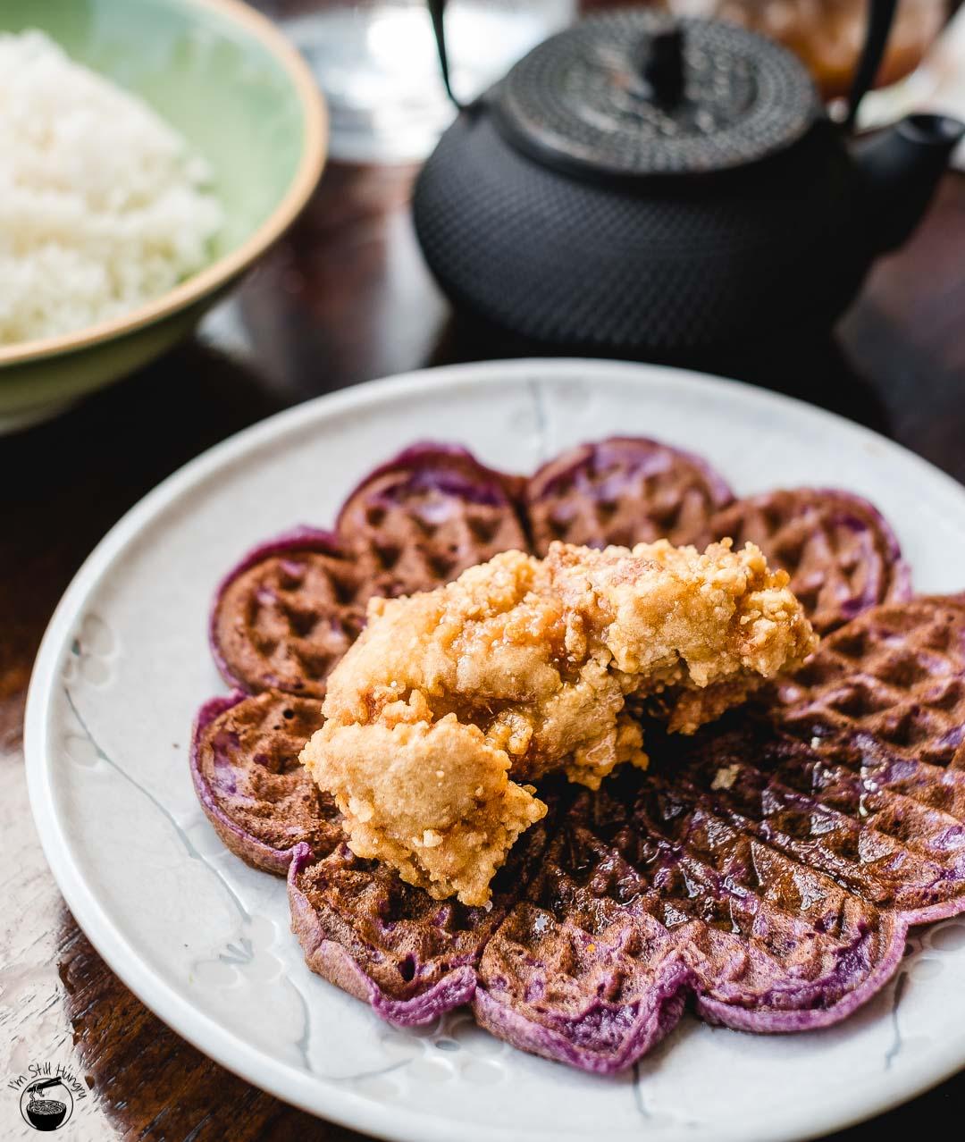 ACME Sam's fried chicken, ube waffle, maple syrup