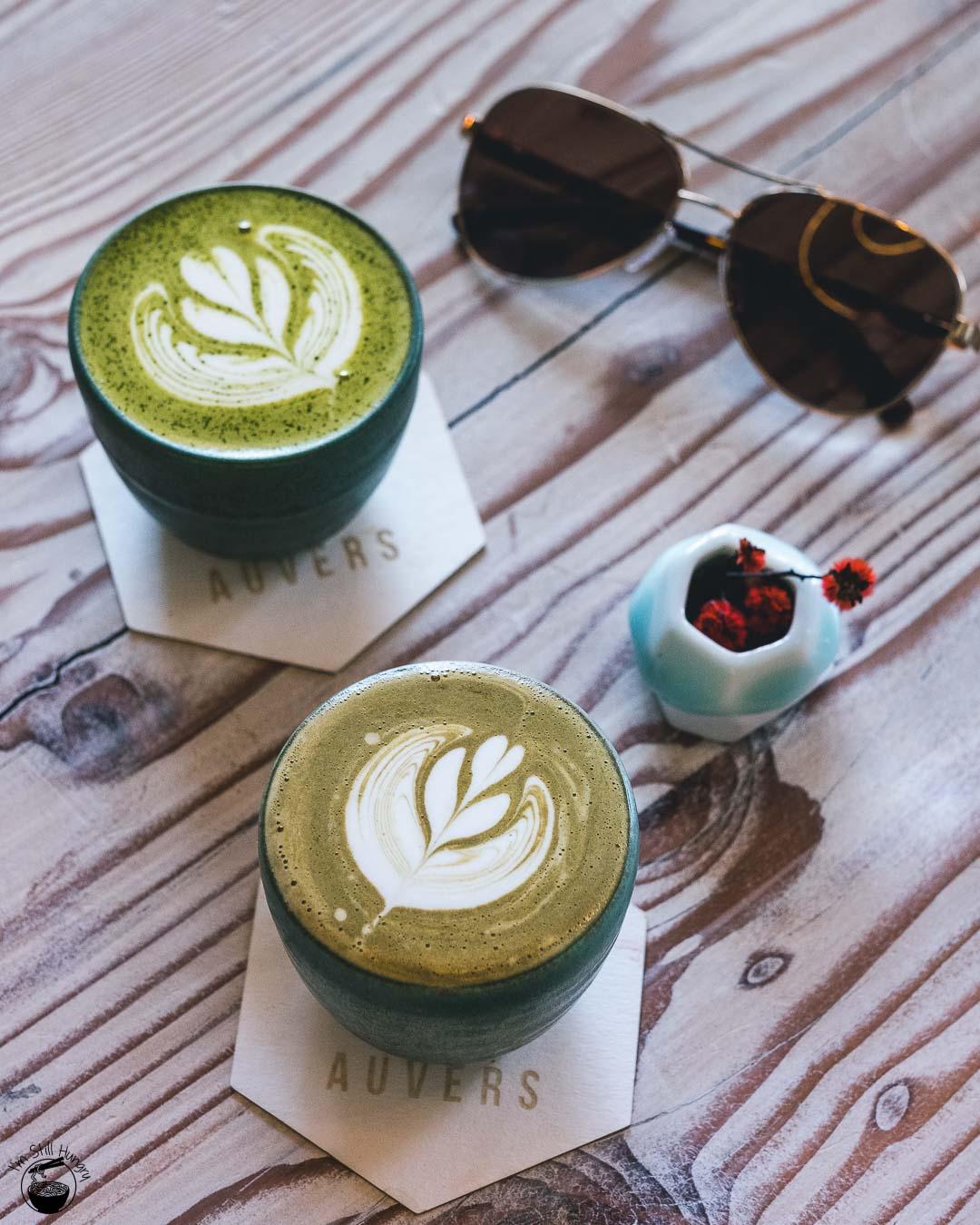 Auvers Cafe Rhodes Matcha & Houjicha lattes