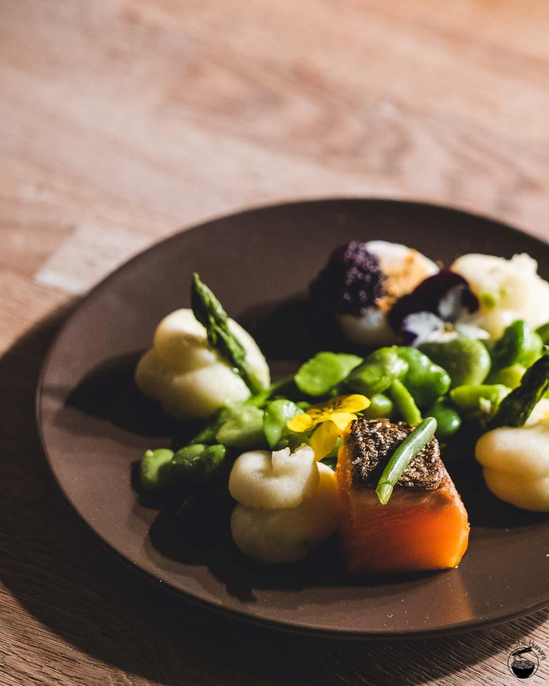 Blue Wren Restaurant Crispy skinned salmon, Himalayan salt rock seared scallop, potato puree, broad beans, asparagus, corn dust, caviar