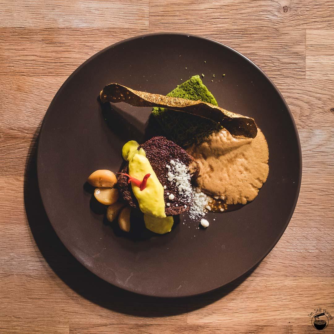Blue Wren Restaurant Sous-vide chateaubriand, cacao, spinach sponge, golden black pudding, honeyed garlic, vegemite foam, horseradish snow