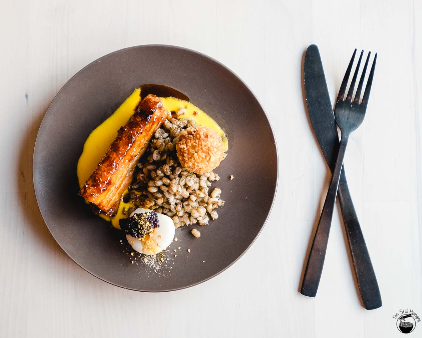 Blue Wren Restaurant Himalayan rock salt seared scallop, pork belly, sage thyme barley, caviar, corn dust, pork neck croquette, crustacean curd