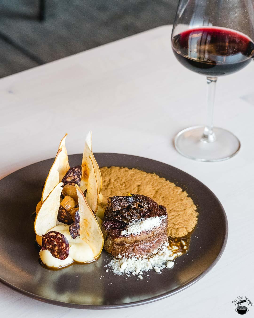 Blue Wren Restaurant Sous vide chateaubriand, cacao, smoked potato puree, pear, black pudding crisp, morels, vegemite foam, horseradish snow
