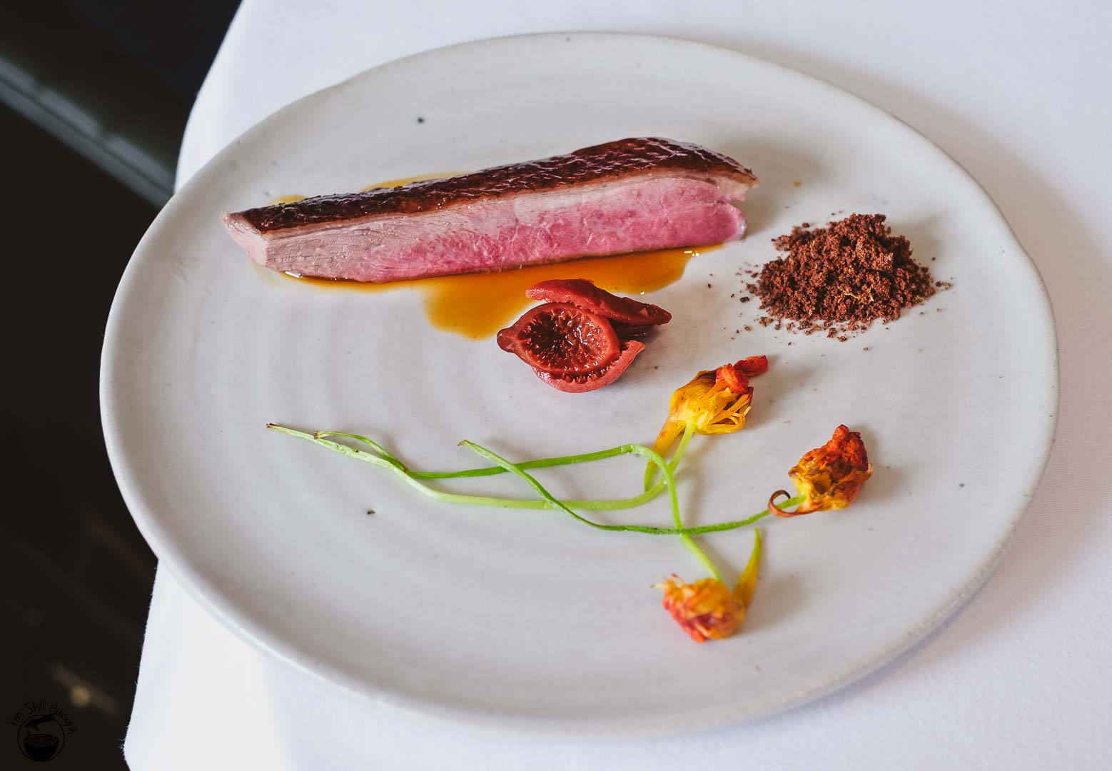 Brae Restaurant Birregurra Wood roasted aged Pekin duck, quandong, dried liver