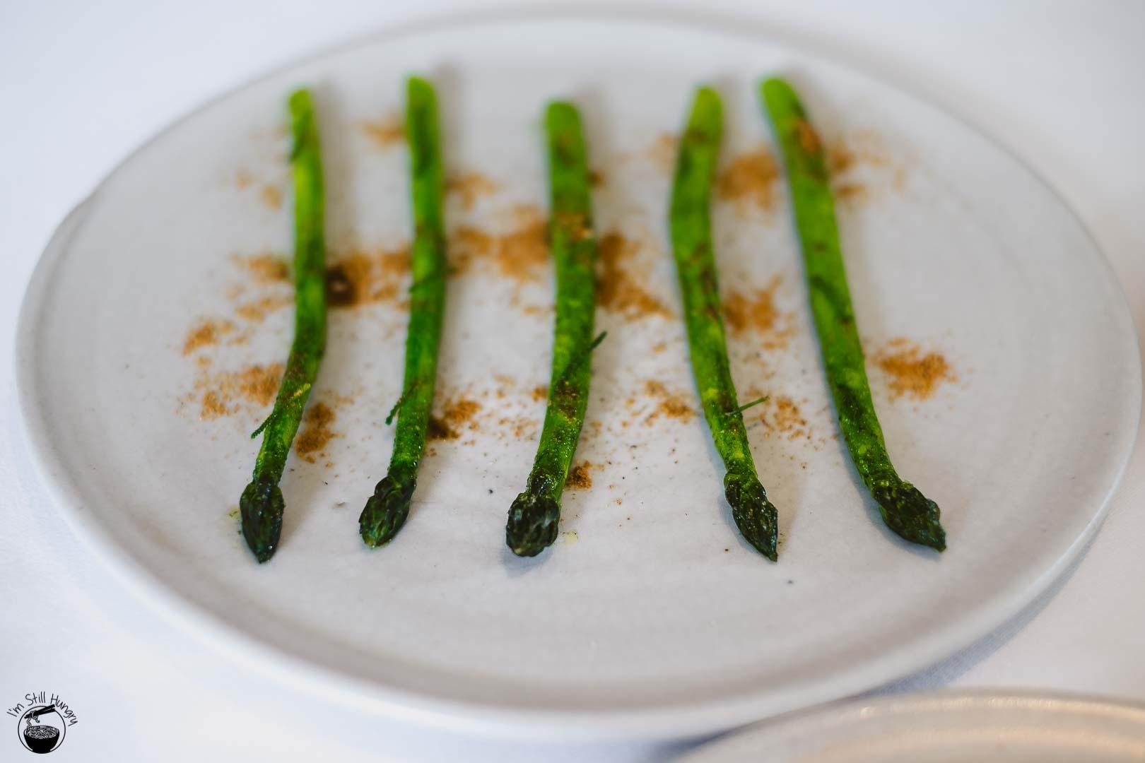 Brae Restaurant Birregurra Asparagus, sea butter, olive plant