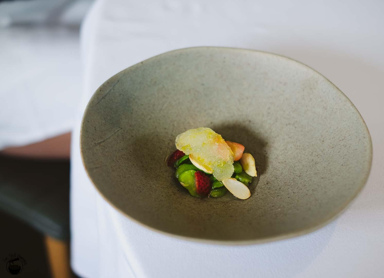 Brae Restaurant Birregurra Chilled broth of broad bean, green almond, strawberry, fig leaf & yoghurt whey