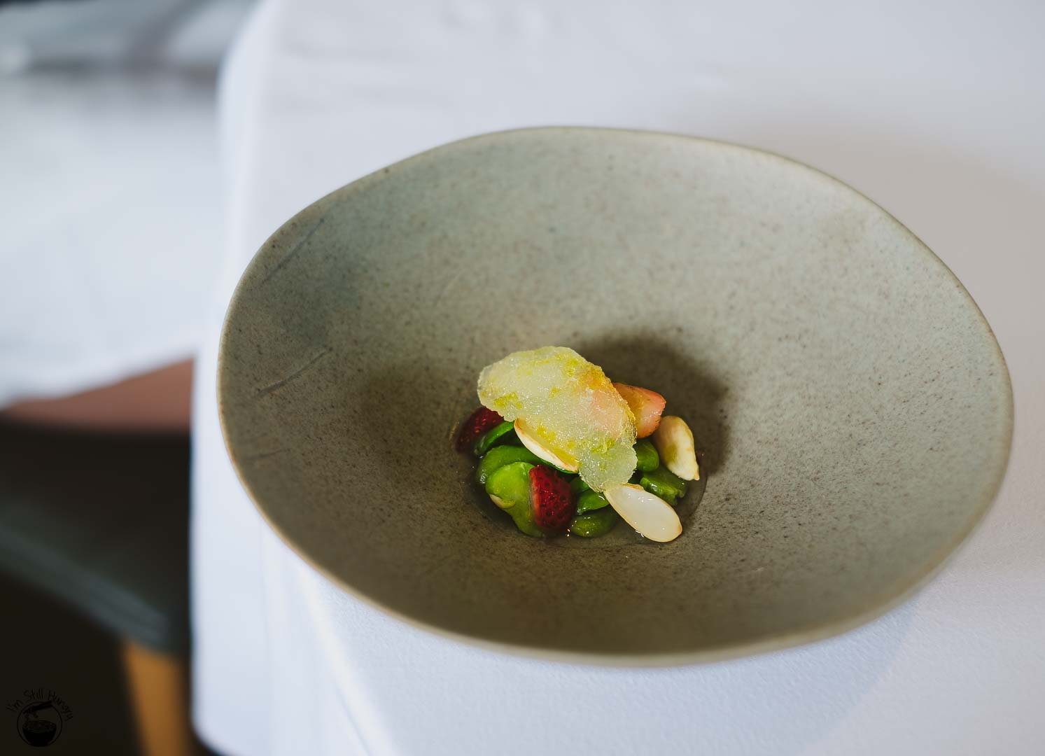 Brae Restaurant Birregurra Chilled broth of broad bean, green almond, strawberry, fig leaf & yoghurt whey