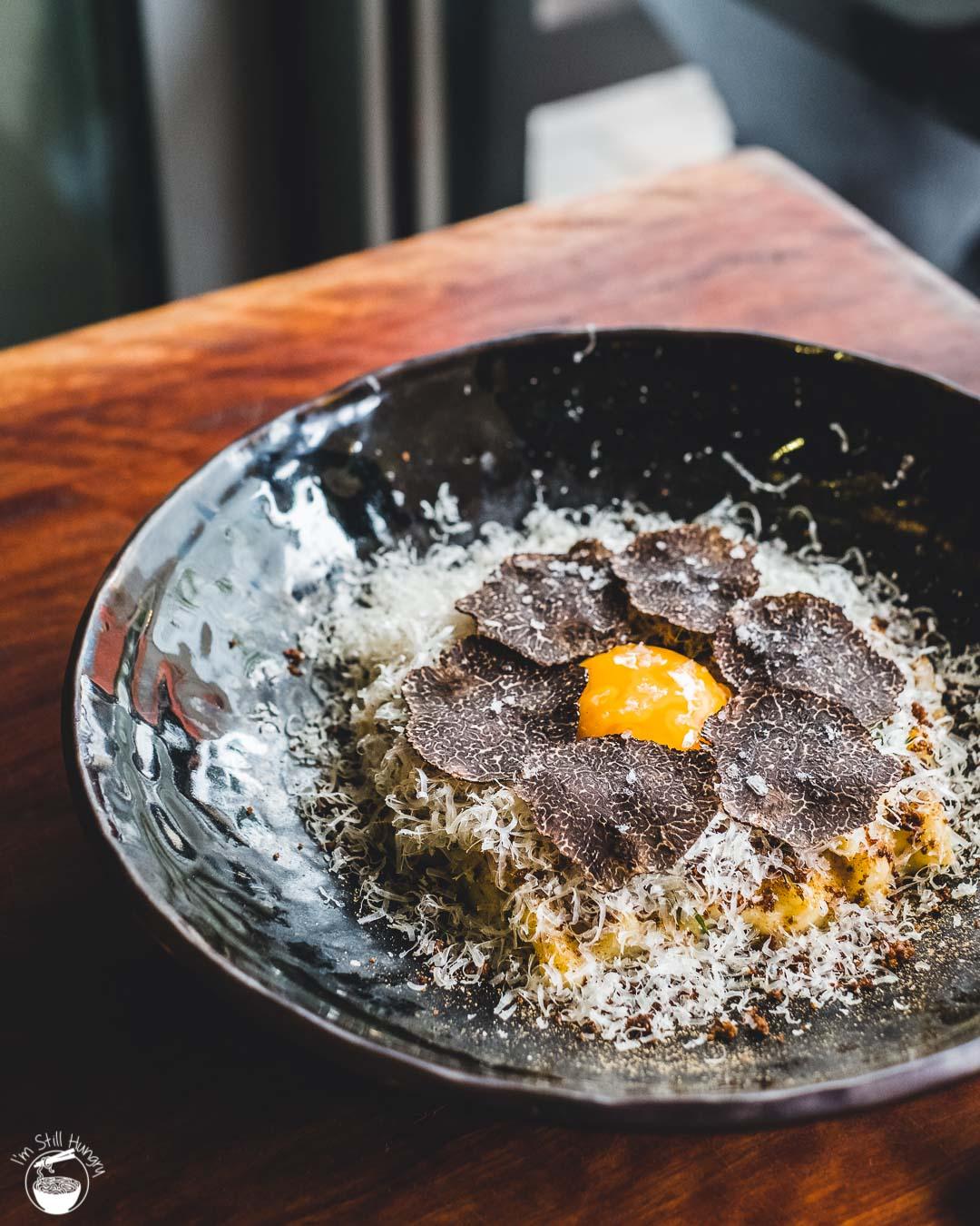 Cavalier Specialty Coffee Truffle Macaroni & cheese: mushroom duxelles, snowy grana padano, organic egg yolk, shaved truffle
