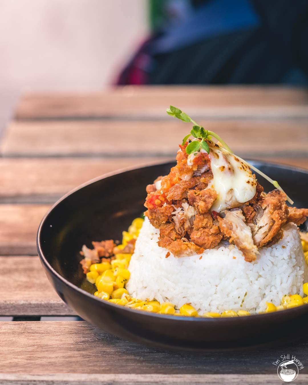 Kusuka Cafe Chicken winner: melty cheesy mozzarella on Kusuka homemade fried chicken w/specialty taichan chilli & rice (ayam geprek chili taichan mozza)