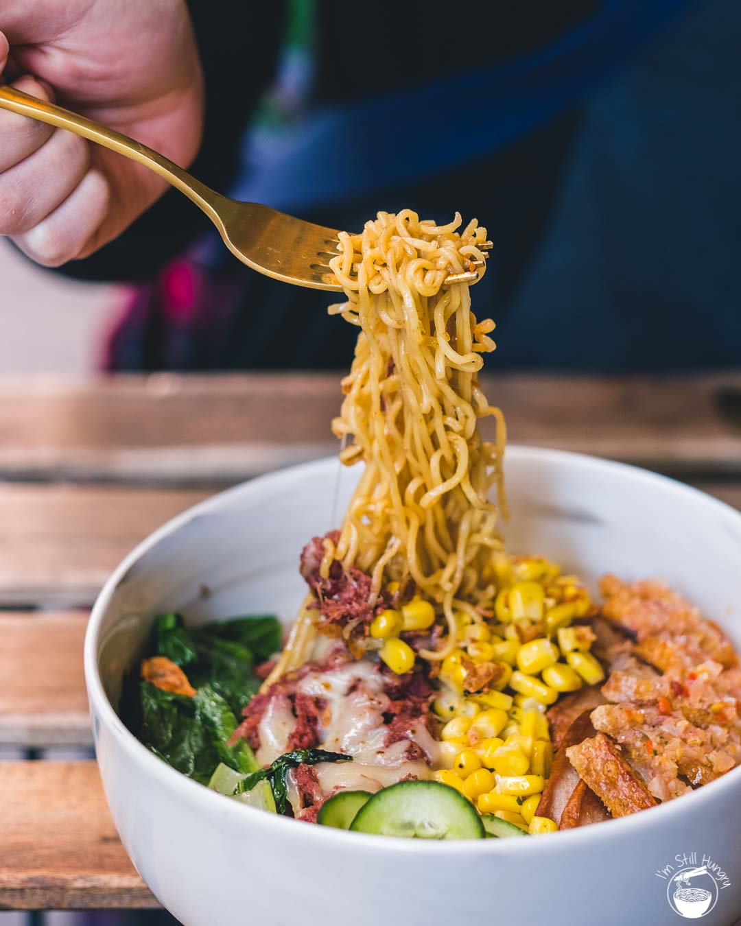 Kusuka Cafe Super bowl: double portion of mi goreng w/pork belly, salsa/chili matah, corned beef & melted cheese, sausages & extra toppings (indomie super galau)