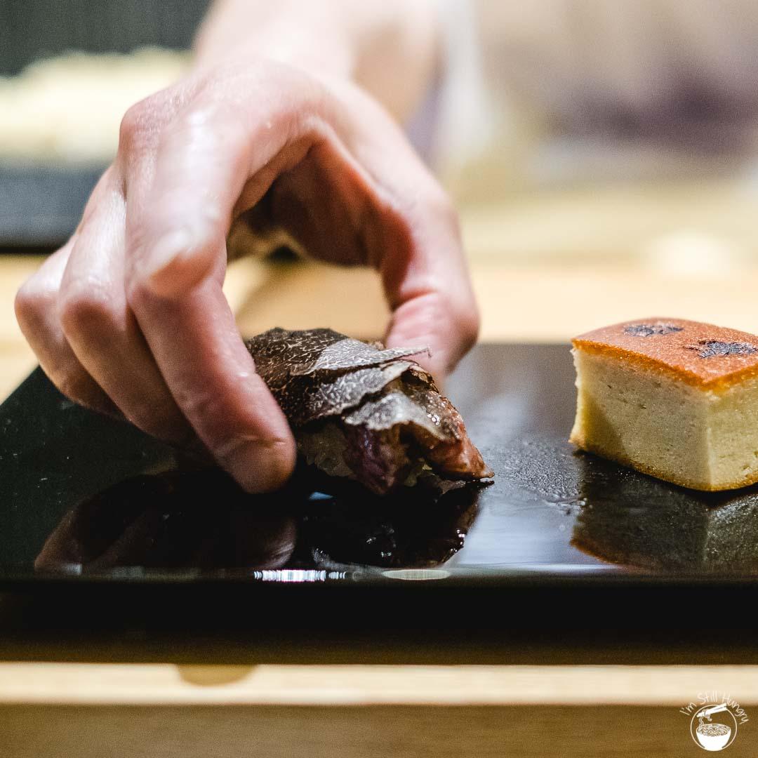 Minamishima Melbourne Wagyu & truffle nigiri