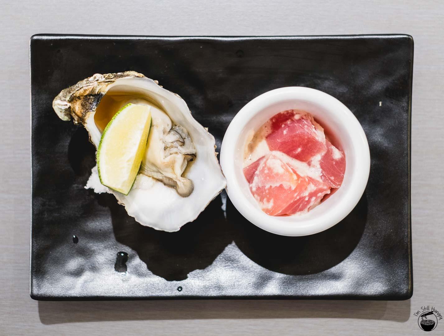 Sashimi Shinsengumi Starter: oyster in mandarin sauce & cubed tuna in yamaimo (mountain yam)