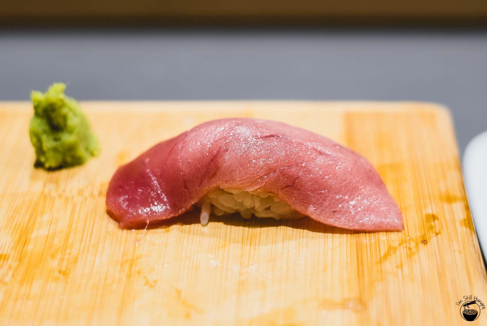 Sashimi Shinsengumi Marinated toro (fatty tuna) from Japan.