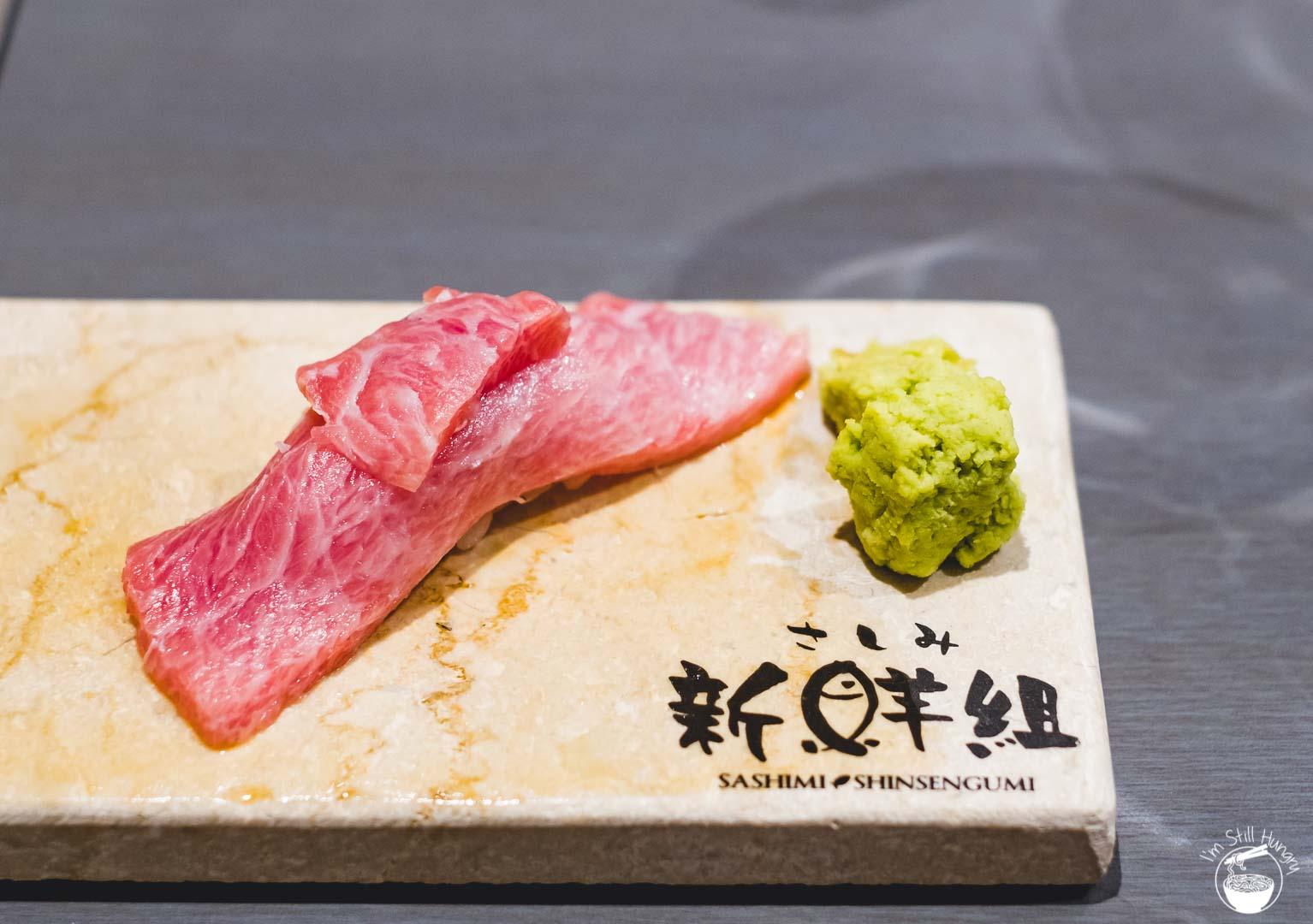 Sashimi Shinsengumi Crows Nest Sushi Omakase Tuna belly