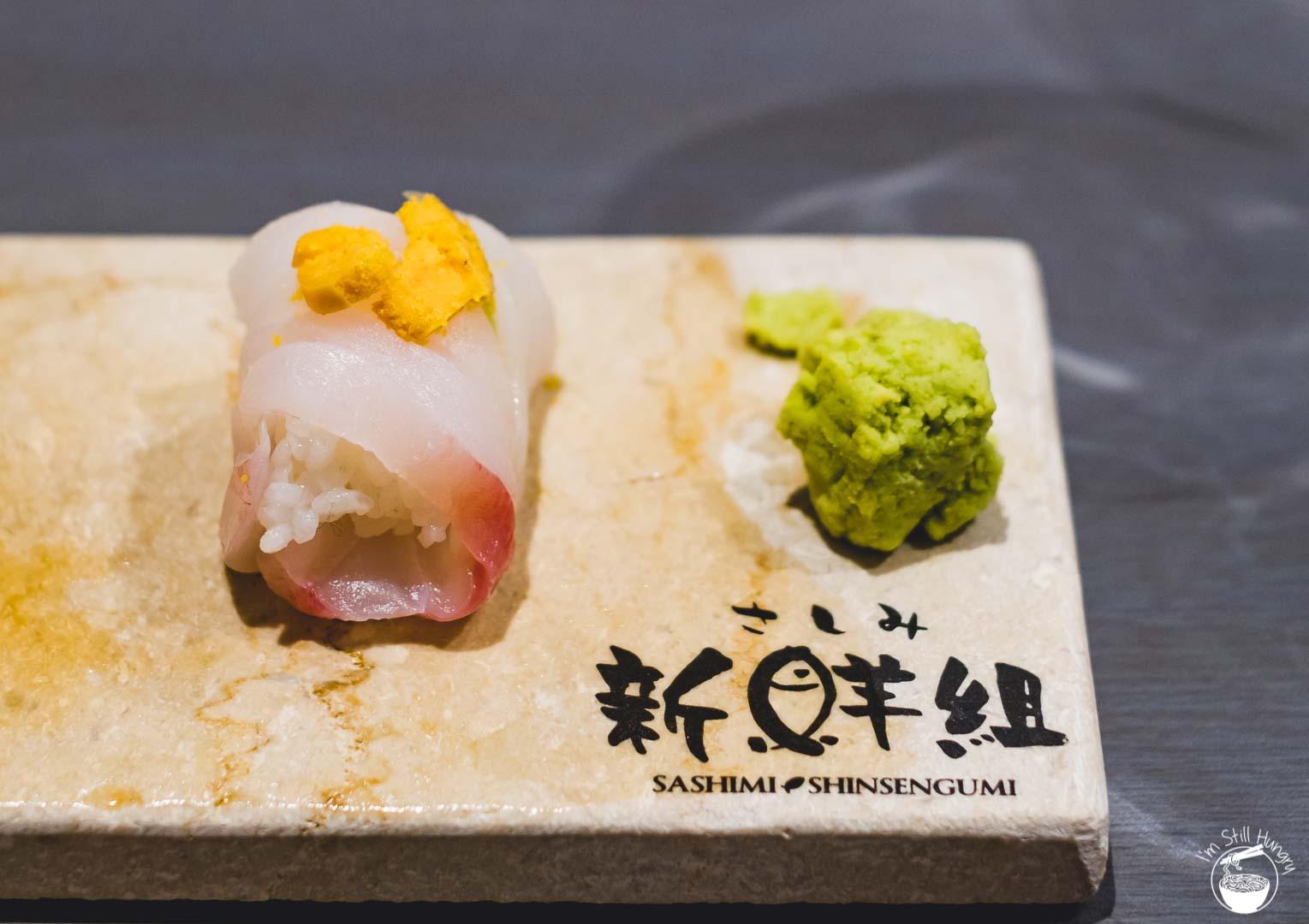 Sashimi Shinsengumi Crows Nest Sushi Omakase Snapper w/sea urchin on top