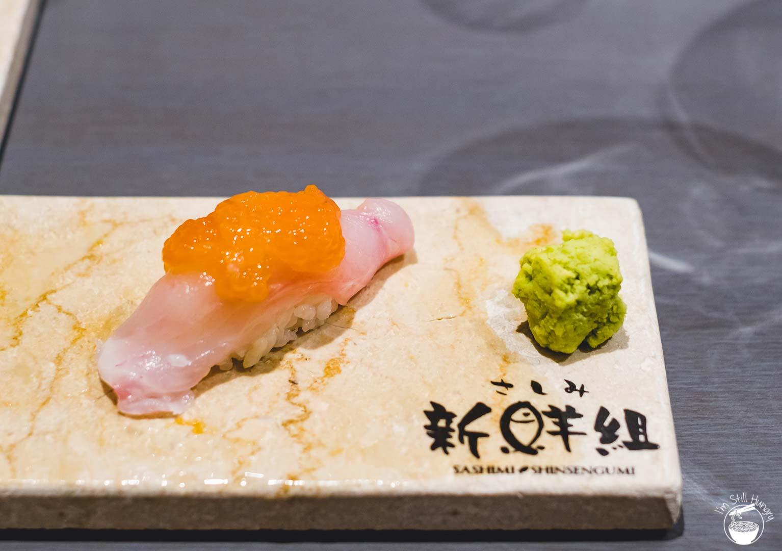 Sashimi Shinsengumi Crows Nest Sushi Omakase Cod w/cod roe on top