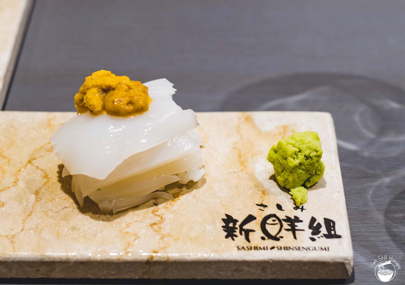 Sashimi Shinsengumi Crows Nest Sushi Omakase Squid w/sea urchin on top