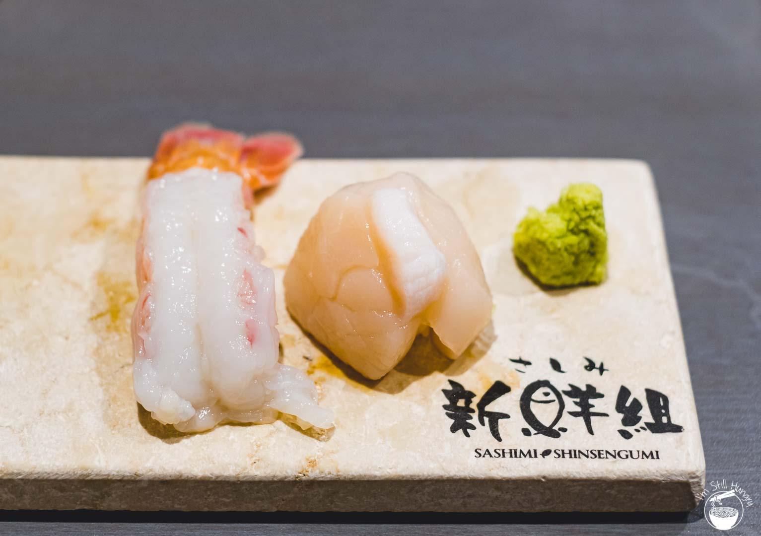 Sashimi Shinsengumi Crows Nest Sushi Omakase Scampi & scallop