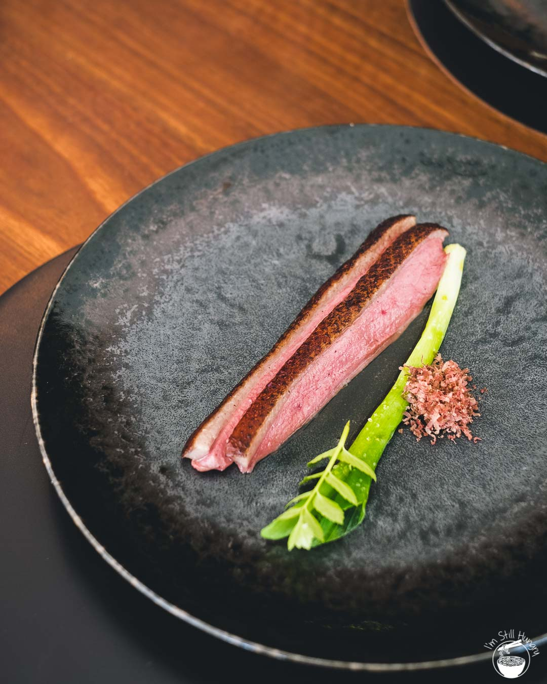 Sixpenny Stanmore Aged duck breast with Spring Onion & Caramelised Pumpkin Juice