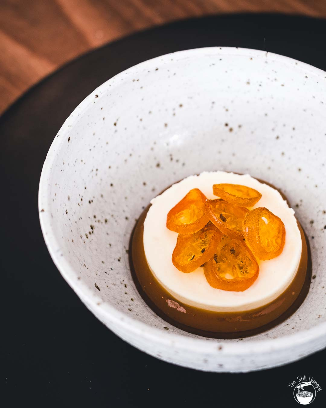Sixpenny Stanmore Cocoa Ice Cream with Poor Man's Orange Caramel & Candied Kumquat