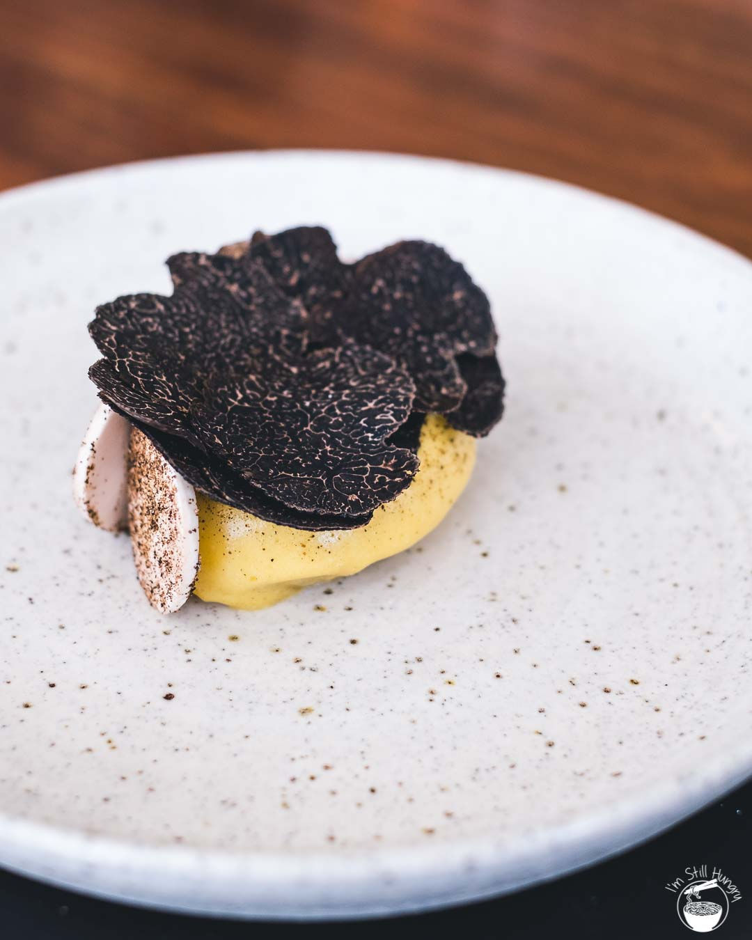 Sixpenny Stanmore Potatoes with Oyster & Raw Mushroom + Manjimup black truffle