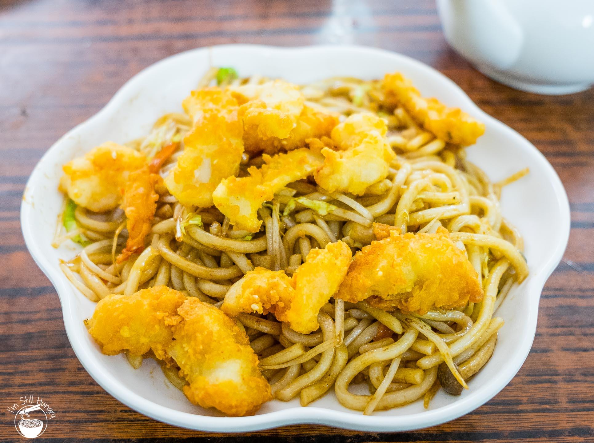 Tai O Prawn, squid & mushroom fried udon
