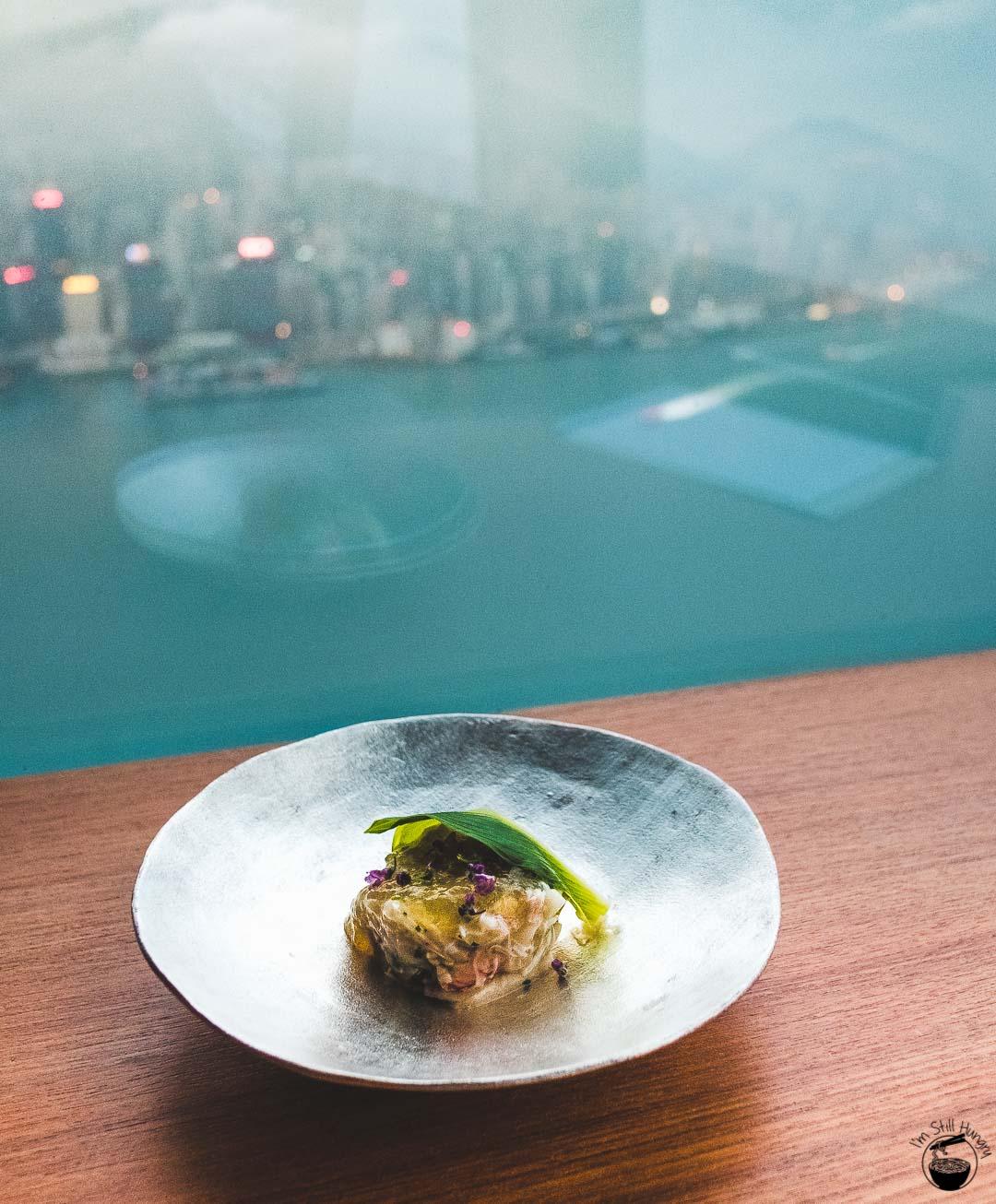 Tenku Ryugin Hong Kong Hokkaido kegani & hokki clam salad w/sudachi jelly