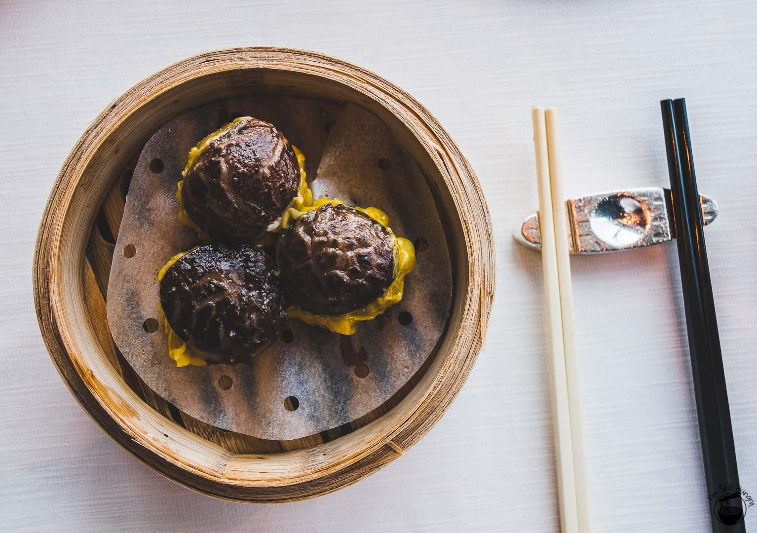 Tin Lung Heen Hong Kong Michelin Steamed pork dumpling with Shiitake mushroom