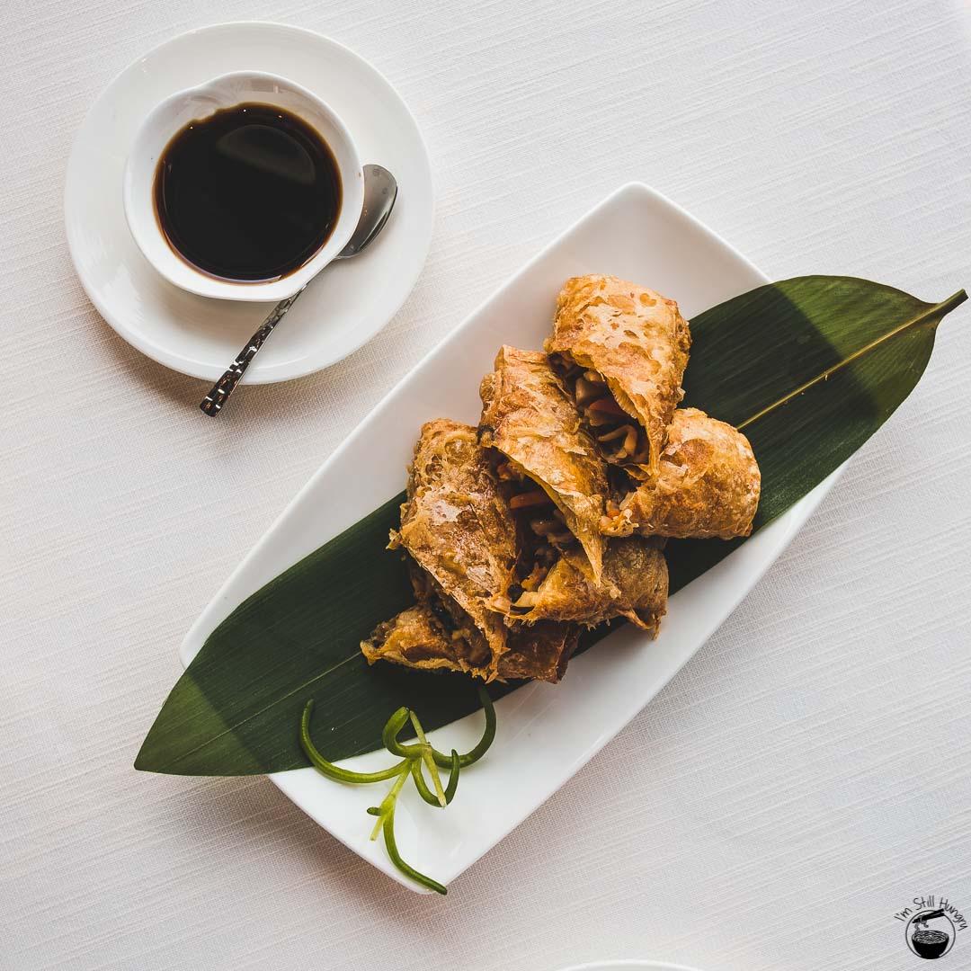 Tin Lung Heen Hong Kong Michelin Pan-fried bean curd sheet with Matsutake mushroom and assorted vegetables