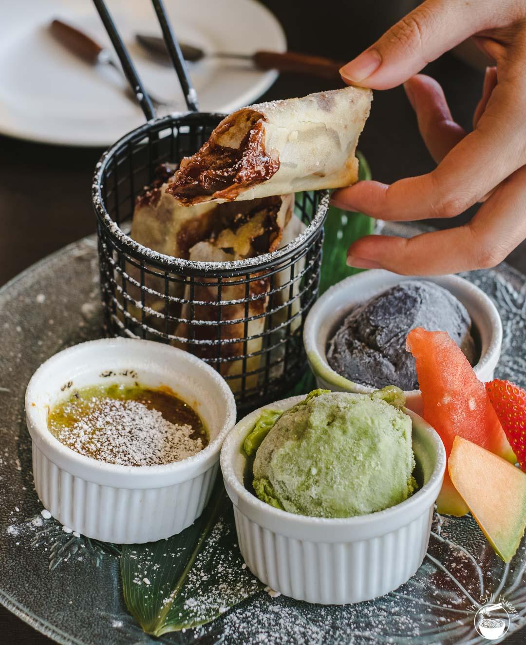 Toshiya Cremorne Custom dessert platter - matcha & black sesame ice cream, matcha creme brulee, Nutella spring rolls