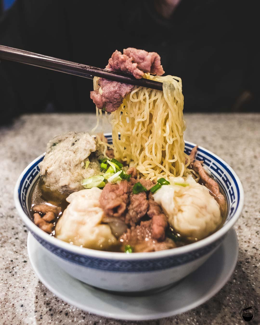 Tsim Chai Kee Hong Kong Three topping wonton noodles - beef, fish ball, prawn wontons