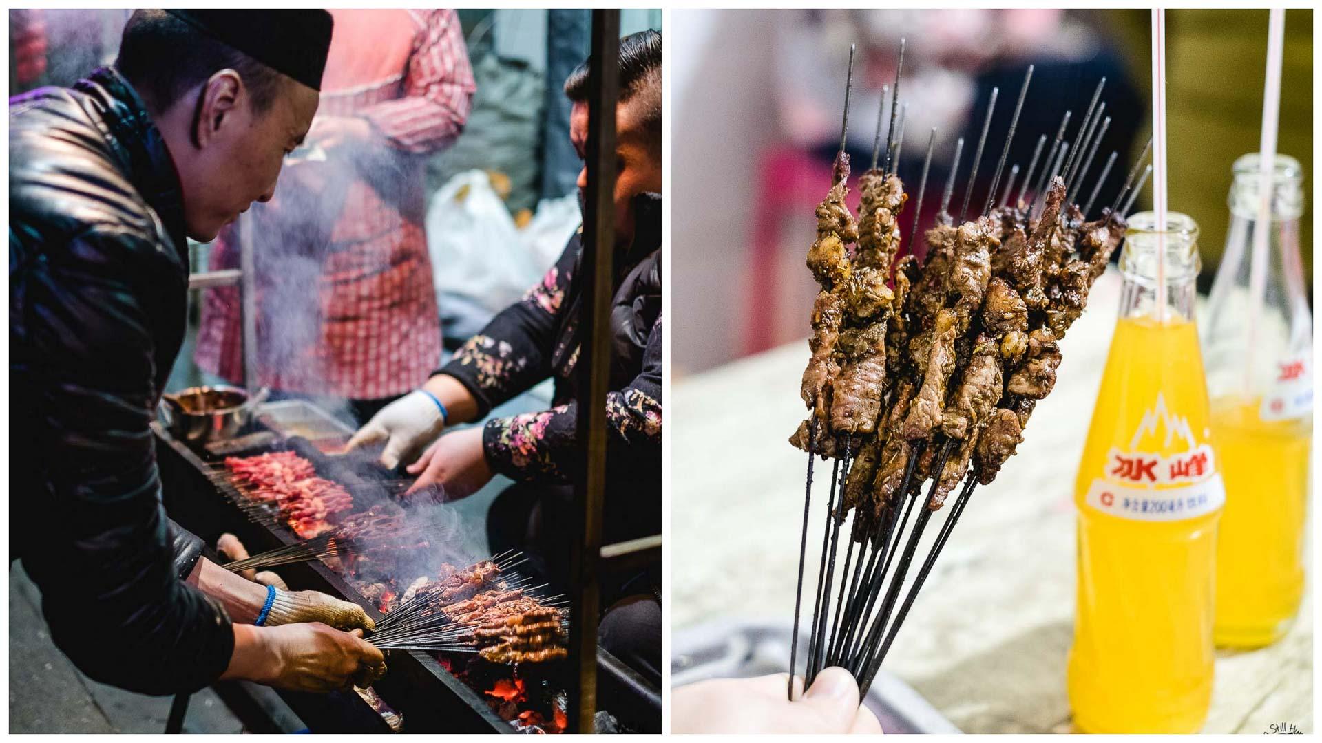 烤肉串 (kao rou chuan) Hui Min Jie Xi'an Muslim Street Food