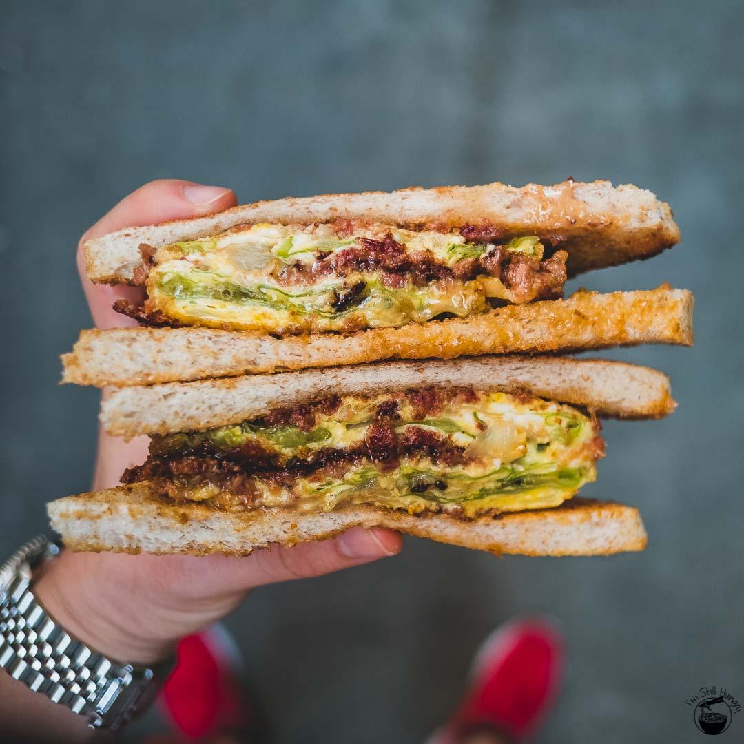 Yue Hing Hong Kong Corned beef, scrambled eggs, cabbage & peanut butter sandwich
