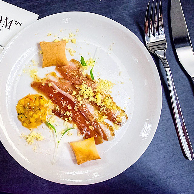 Stockroom >> Smoked duck ham, egg, mango & cardamom // continuing the theme of #backtobasics. The dishes at stockroom are meant to reflect Double Bay's history as a farming area. The plating is a bit haphazard on this one, but the flavours were superb.