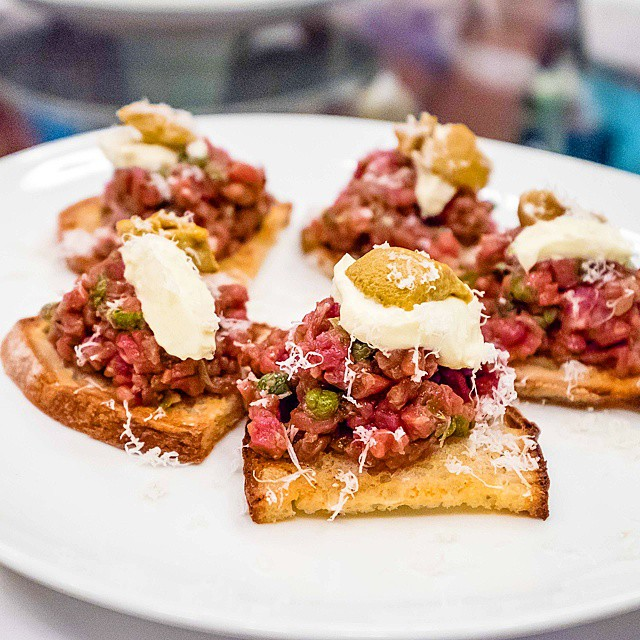 Pei Modern // beef tartare on toast w/sea urchin. Now that's a new way to spice up a tartare dish! #peimodernsyd #peieatstameet #peieatsameet